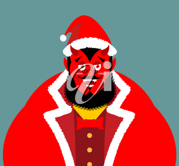 Krampus Satan Santa. Claus red demon with horns. Christmas monster for bad children and bullies. folklore evil. Devil with beard and mustache. shit bag for harmful kids.