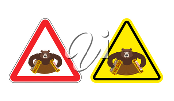 Warning sign drunk Russian tourist attention. Dangers yellow sign people from Russia. Bear with accordion on red triangle. Set of road signs against an aggressive tourer. Attention angry bully