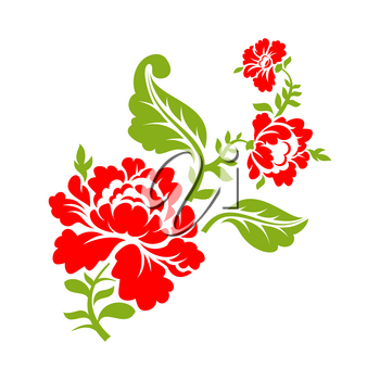 Rose on  branch on white background. Isolated floral elements. Red flower and green leaves
