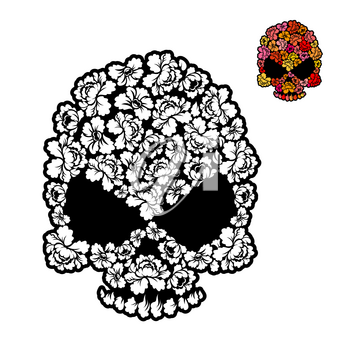 Flower skull coloring book. mexican Head skeleton of rose petals for coloring.