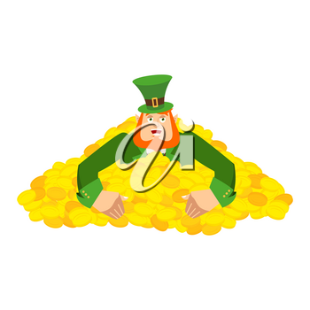 Leprechaun gold . Dwarf with red beard in heap gold coins. Legendary treasures for lucky. St.Patrick 's Day. Holiday in Ireland