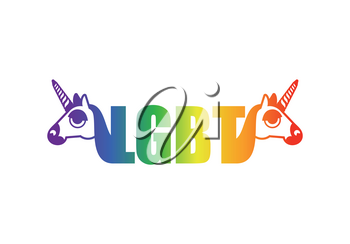LGBT sign Unicorn and rainbow. Symbol of gays and lesbians, bisexuals and transgender people.