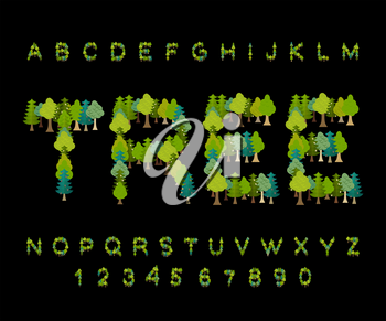 Tree font. Forest  alphabet. Letter from Tree. Nature alphabet. Eco letters
