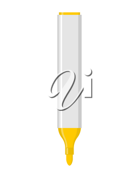 yellow marker isolated. Office stationery. school desk accessories. Large pen on white background.
