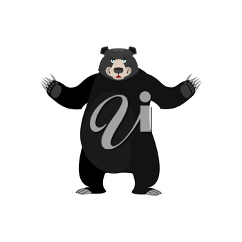 Baribal Happy Emoji. American Black Bear merryl emotion isolated