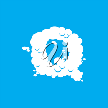 Letter Q cloud font symbol. White Alphabet sign on blue sky