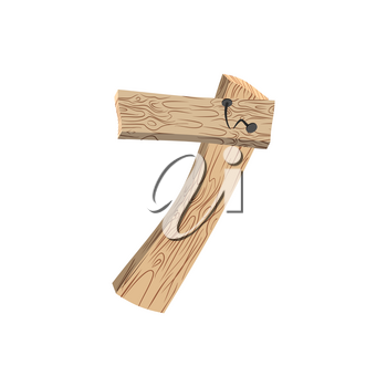 Number 7 wood board font. Seven symbol plank and nails alphabet. Lettering of boards. Country chipboard ABC