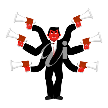 Boss and megaphone. Businessman and lots of hands. Director scolds through bullhorn. Give orders and instructions. Chief is wicked. Vector illustration