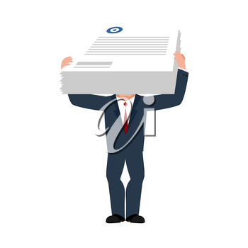 Business consultant and documents. Assistant boss. Vector illustration