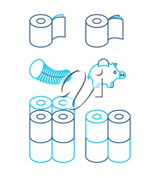 Toilet paper rol set icon. Economical, two-layered and soft. collection Symbol for packing. Vector illustration
