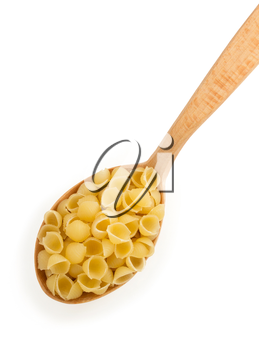 raw pasta in spoon isolated on white background