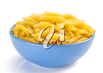 penne pasta in plate isolated on white background