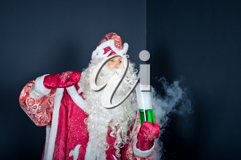 Flasks and test tubes with characters of New Years and Christmas fairy tales.