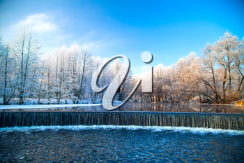 Falls in the winter. Picturesque scenery of winter.