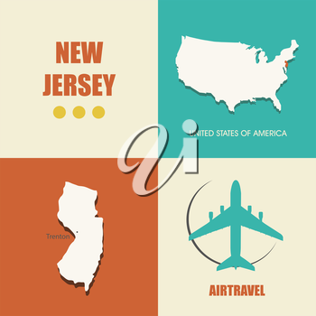 flat design with map New Jersey concept for air travel
