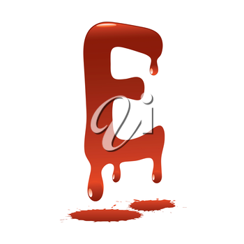letter E in the form of current liquid paint
