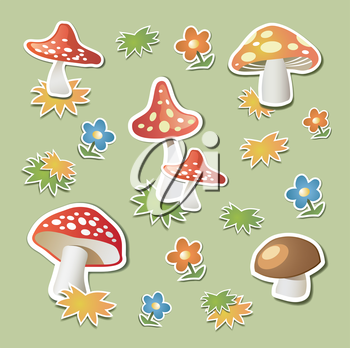 Mushrooms in the form stickers on green background