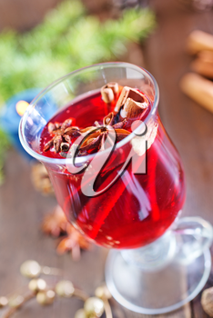fresh mulled wine in the glass and on a table