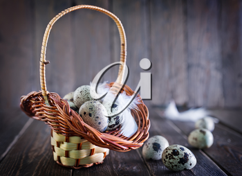 raw quail eggs in the basket and on a table