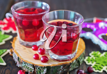 mulled wine in the glass and on a table