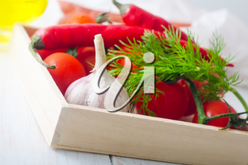 Fresh vegetables in the wooden box
