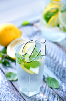fresh lemonad in glass and on a table
