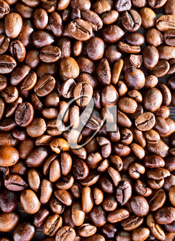 coffee background, coffee beans on a table