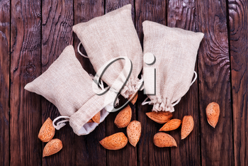 almond in bag and on a table