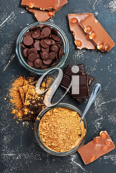 chocolate and cocoa powder on a table