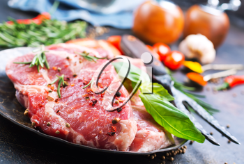raw meat and aroma spice for marinade, meat with salt and spice