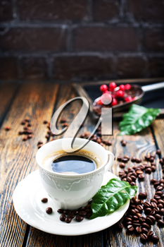 coffee background, coffee on a table, copy space for your text.