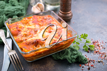 lasagna with tomato sauce and aroma spice