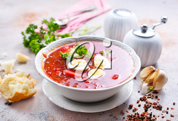 Traditional Ukrainian borsch, red beet soup with boiled eggs