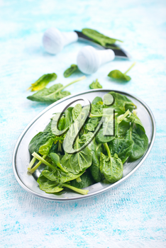 fresh spinach on metal plate, fresh leaves of spinach