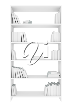 White bookcase with many white books on bookshelves isolated on white, colorless bleached 3D illustration