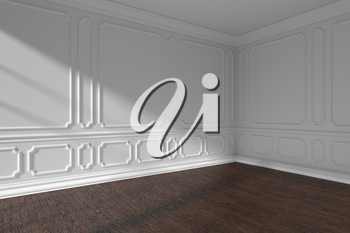 Empty white room interior with sunlight from window, classic style molding frames on walls, dark wooden parquet floor and white baseboard, 3d illustration