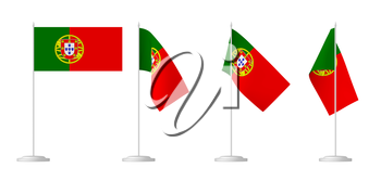 National flag of Portugal, set of small table flag of Portugal on stand isolated on white, 3d illustrations