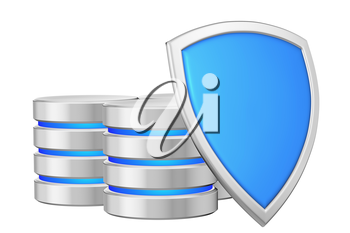 Data bases group behind blue metal shield on right protected from unauthorized access, data privacy concept, 3d illustration icon isolated on white background for Data Protection Day