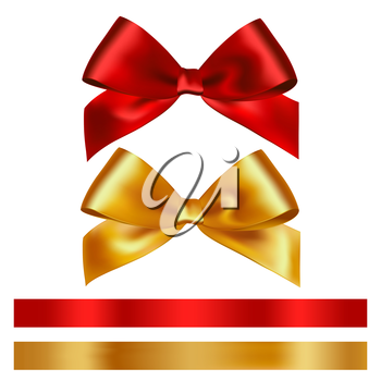 Shiny red and gold satin ribbon on white background. Vector