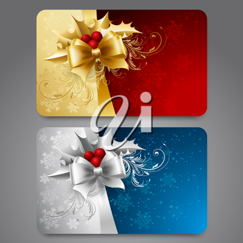 Collection of gift cards with snowflakes and  ribbons. Vector background