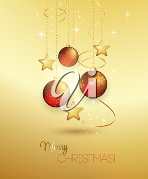 Holiday Background with red Christmas baubles. Vector illustration.