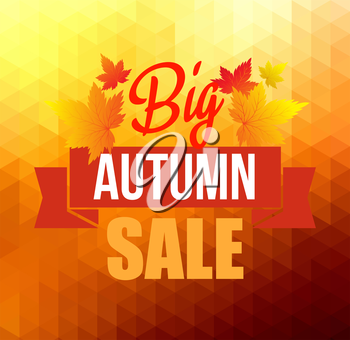 Autumn sun triangle vector background with leaves. Vector illustration Eps10. Big sale