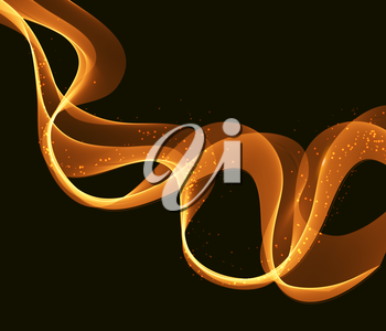 Gold Colorful wavy  lines  vector abstract background