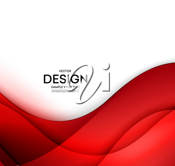 Red vector Template Abstract background with curves lines and shadow. For flyer, brochure, booklet and websites design