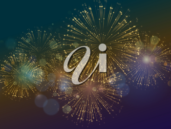 Vector Holiday Fireworks Background. Happy New Year, Independence Day festive background