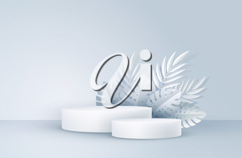 Minimal white scene with geometric shapes and palm leaves. Cylindrical podium on a yellow background. 3D monochrome stage for displaying a cosmetic product, showcase