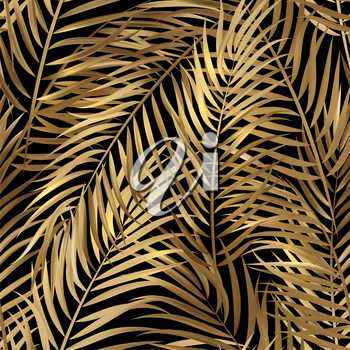 Tropical gold palm leaves, jungle leaves seamless vector floral pattern background.