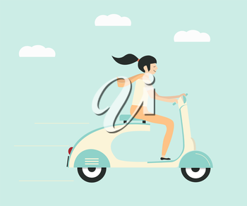Royalty Free Clipart Image of a Woman on a Scooter