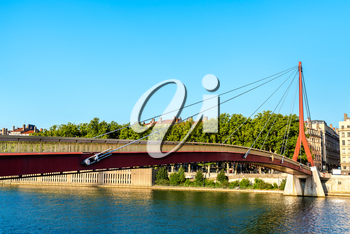 Palace of Justice Footbridge over the Saone river in Lyon - Auvergne-Rhone-Alpes, France