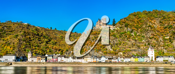 Katz Castle above Sankt Goarshausen town in the Upper Middle Rhine Valley, Germany
